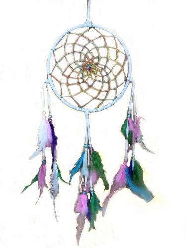 White Dream Catcher w/Color Feathers