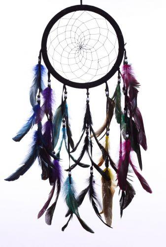 """8.5"""" Color Feather Dream Catcher (Black/White)"""