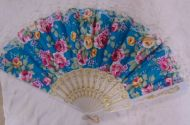 Flower Folding Fan with White Lace (dozen)