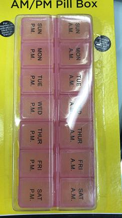 AM/PM 7 Day Pill Holder