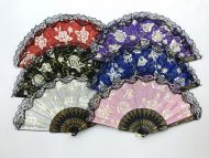 Folding Fan (Rose w/Black Handle)