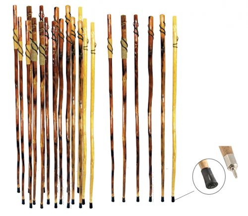 "55"" Wooden Hiking Sticks with Carvings"