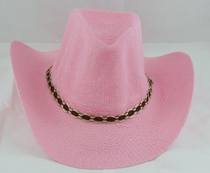 Woven Cowgirl Hat Pink