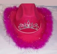 Light Up Cowgirl Hat with Feathers