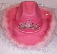 Cowgirl Hat with Feathers Pink