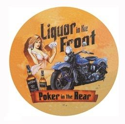 "12"" Round Metal Sign ""Liquor and Poker"""