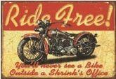 """12 x 16 Metal Sign """"Ride Free Motorcycle"""""""