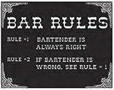 "12 x 15 Metal Sign ""Bar Rules"""