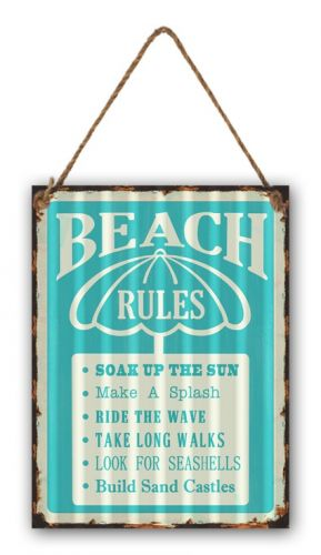 "12 x 16 Wavy Metal Sign ""Beach Rules"""