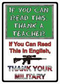 "12 x 17 Metal Sign ""Read Teacher/English Military"""