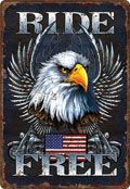 "12 x 17 Metal Sign ""Ride Free (Eagle/Flag)"""