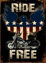 """12 x 17 Metal Sign """"Ride Free"""""""