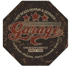 "12"" Octagon Metal Sign ""Garage"""