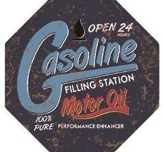 "12"" Octagon Metal Sign ""Gasoline"""