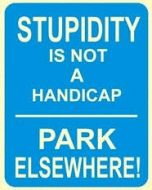 "12 x 15 Metal Sign ""Stupidity Not Handicap"""