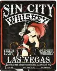 """12x15 Metal Sign """"Sin City Whiskey"""""""
