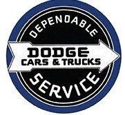 """12"""" Round Sign """"Dodge Service"""""""