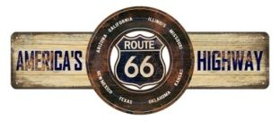 "18 x 7.5 Metal Sign ""Route 66"""