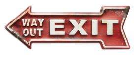 "16 x 5.5 Metal Arrow Sign ""Exit"""