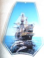 Ship and Dolphins Touch Lamp Glass