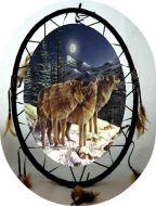 Oval Wolf Mandala Dream Catcher (6 Assorted)