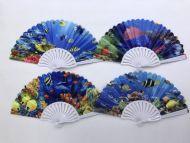 Folding Fan (Sea Scene w/White Handle)