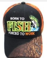 "Baseball Cap ""Born to Fish, Forced to Work"""