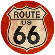 """15"""" Dome Sign """"Route 66 Red"""""""