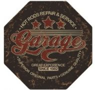 "12"" Octagon Metal Sign ""Garage"""