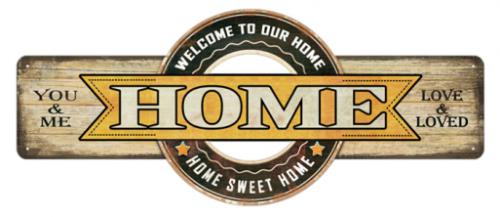 "18 x 7.5 Metal Sign ""Home"""